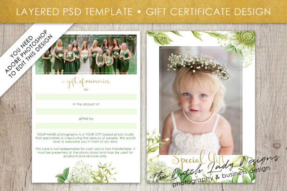 Print on Demand: Photography Gift Certificate Template - Photo Gift Card - Watercolor Spring Flower - Layered .PSD Files - Design #44 Graphic Graphic Templates By daphnepopuliers - Image 2