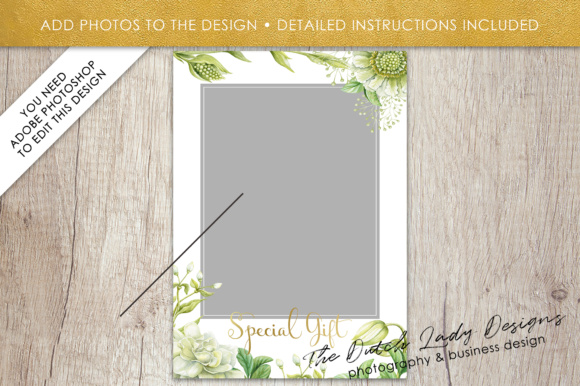 Print on Demand: Photography Gift Certificate Template - Photo Gift Card - Watercolor Spring Flower - Layered .PSD Files - Design #44 Graphic Graphic Templates By daphnepopuliers - Image 5