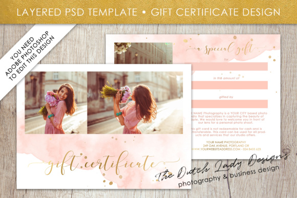 Photography gift certificate template photo gift card watercolor photography gift certificate template photo gift card watercolor style layered d files design 43 yelopaper Gallery