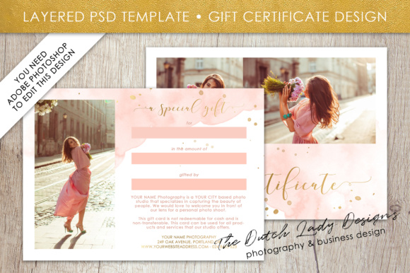 Print on Demand: Photography Gift Certificate Template - Photo Gift Card - Watercolor Style - Layered .PSD Files - Design #43 Graphic Graphic Templates By daphnepopuliers - Image 2