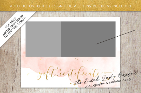 Print on Demand: Photography Gift Certificate Template - Photo Gift Card - Watercolor Style - Layered .PSD Files - Design #43 Graphic Graphic Templates By daphnepopuliers - Image 5