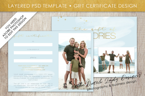 Print on Demand: Photography Gift Certificate Template - Photo Gift Card - Watercolor Style - Layered .PSD Files - Design #38 Graphic Graphic Templates By daphnepopuliers - Image 2