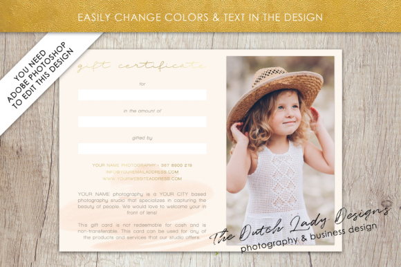 Print on Demand: Photography Gift Certificate Template - Photo Gift Card - Watercolor Style - Layered .PSD Files - Design #38 Graphic Graphic Templates By daphnepopuliers - Image 4
