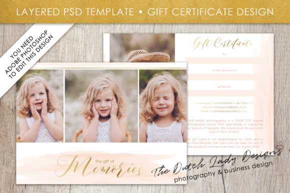 Print on Demand: Photography Gift Certificate Template - Photo Gift Card - Watercolor Style - Layered .PSD Files - Design #37 Graphic Graphic Templates By daphnepopuliers - Image 1