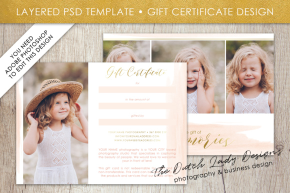 Print on Demand: Photography Gift Certificate Template - Photo Gift Card - Watercolor Style - Layered .PSD Files - Design #37 Graphic Graphic Templates By daphnepopuliers - Image 2