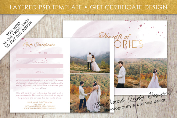 Print on Demand: Photography Gift Certificate Template - Photo Gift Card - Watercolor Style - Layered .PSD Files - Design #36 Graphic Graphic Templates By daphnepopuliers - Image 2