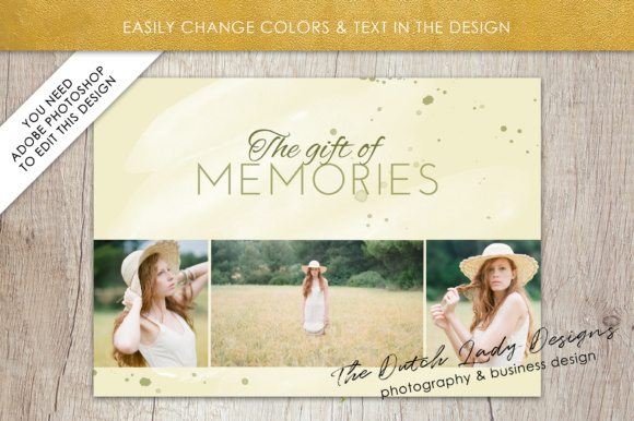 Print on Demand: Photography Gift Certificate Template - Photo Gift Card - Watercolor Style - Layered .PSD Files - Design #36 Graphic Graphic Templates By daphnepopuliers - Image 3