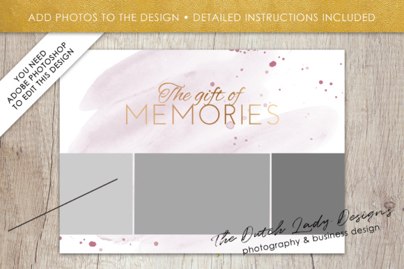 Print on Demand: Photography Gift Certificate Template - Photo Gift Card - Watercolor Style - Layered .PSD Files - Design #36 Graphic Graphic Templates By daphnepopuliers - Image 5