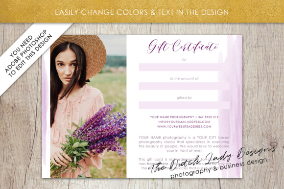 Print on Demand: Photography Gift Certificate Template - Photo Gift Card - Watercolor Style - Layered .PSD Files - Design #37 Graphic Graphic Templates By daphnepopuliers - Image 4