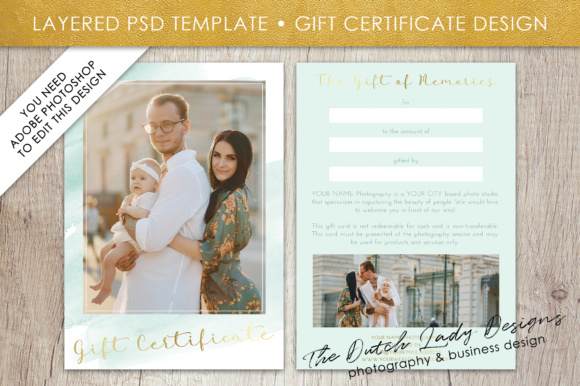 Print on Demand: Photography Gift Certificate Template - Photo Gift Card - Watercolor Style - Layered .PSD Files - Design #34 Graphic Graphic Templates By daphnepopuliers