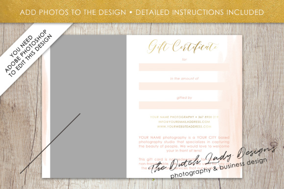 Print on Demand: Photography Gift Certificate Template - Photo Gift Card - Watercolor Style - Layered .PSD Files - Design #37 Graphic Graphic Templates By daphnepopuliers - Image 5