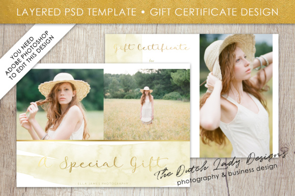 Photography Gift Certificate Template Photo Gift Card Watercolor
