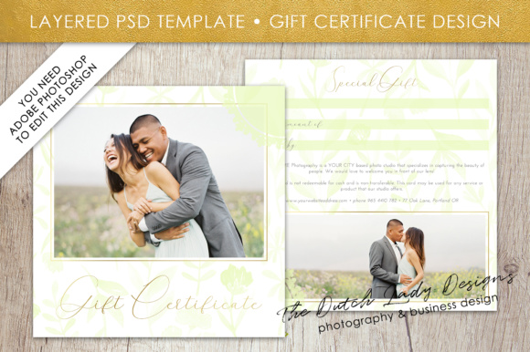Photography gift certificate template photo gift card watercolor photography gift certificate template photo gift card watercolor design layered d files design 46 yelopaper Gallery