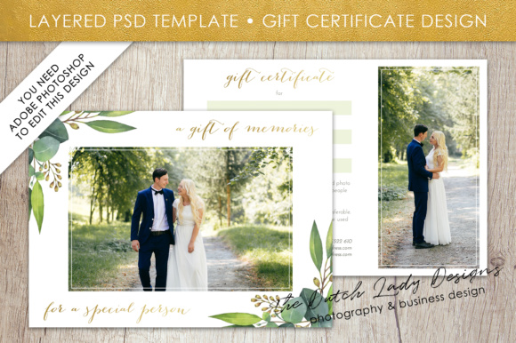 Print on Demand: Photography Gift Certificate Template - Photo Gift Card - Watercolor Style - Layered .PSD Files - Design #45 Graphic Graphic Templates By daphnepopuliers - Image 1