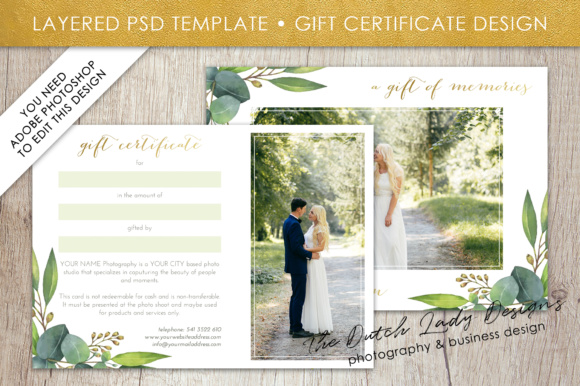 Print on Demand: Photography Gift Certificate Template - Photo Gift Card - Watercolor Style - Layered .PSD Files - Design #45 Graphic Graphic Templates By daphnepopuliers - Image 2