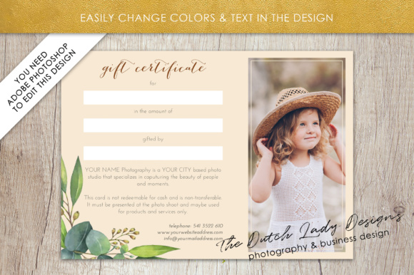 Print on Demand: Photography Gift Certificate Template - Photo Gift Card - Watercolor Style - Layered .PSD Files - Design #45 Graphic Graphic Templates By daphnepopuliers - Image 4