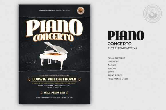Piano Concerto Flyer Template Graphic Print Templates By ThatsDesignStore