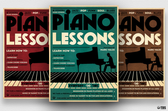 Piano Lessons Flyer Template Graphic By ThatsDesignStore