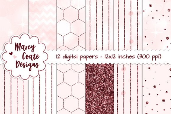 Pink Bokeh & Glitter Patterns Graphic Backgrounds By MarcyCoateDesigns