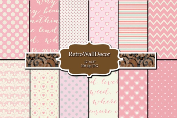 Print on Demand: Pink Digital Papers Graphic Backgrounds By retrowalldecor