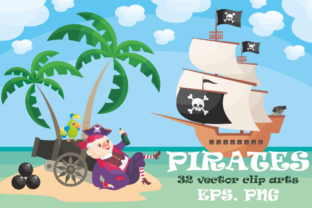 Set with Pirates Vector Clip-Art Graphic By Olga Belova