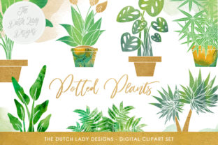 Plants Clipart Set - Potted Plant Images - Indoor Greenery & Flora Graphics - Watercolor Stains Graphic By daphnepopuliers