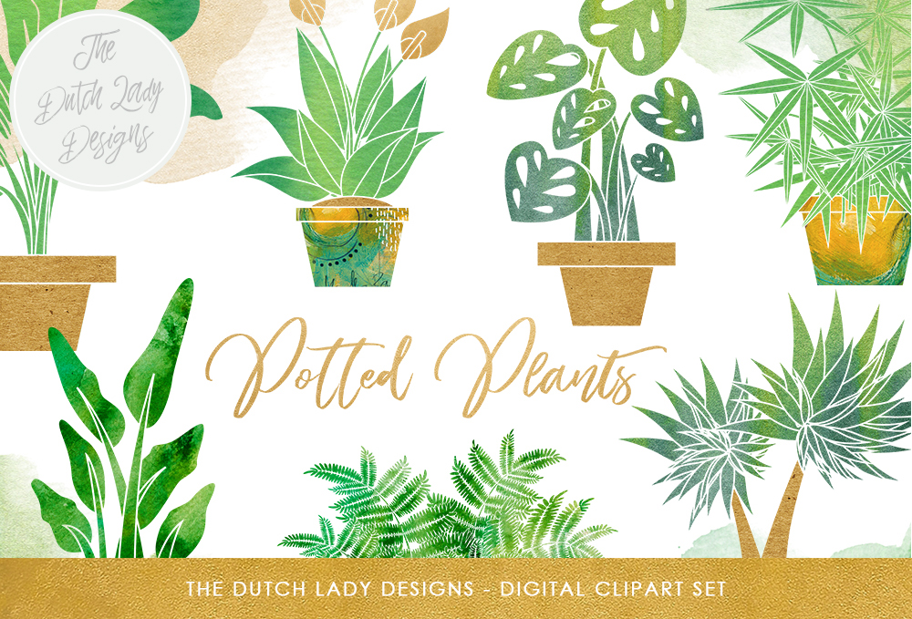 Print on Demand: Plants Clipart Set - Potted Plant Images - Indoor Greenery & Flora Graphics - Watercolor Stains Graphic Illustrations By daphnepopuliers