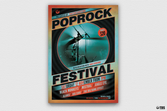 Pop Rock Festival Flyer Template V1 Graphic Print Templates By ThatsDesignStore