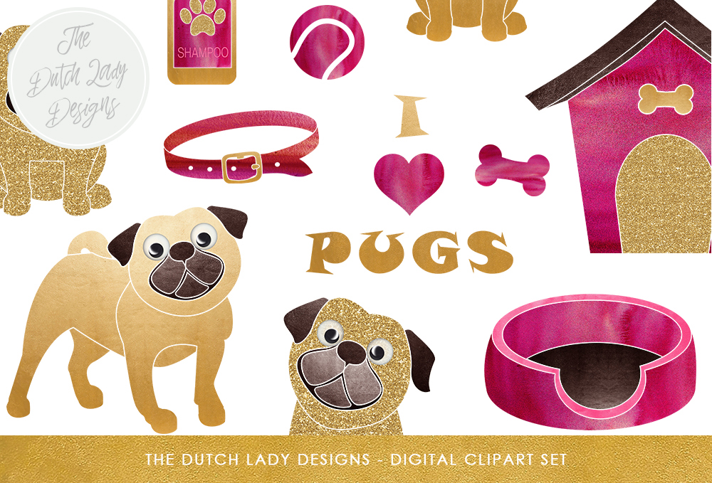 Print on Demand: Pug & Puppy Clipart Set Graphic Illustrations By daphnepopuliers