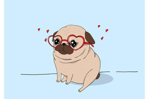 Pug Love Graphic Illustrations By Sasha_Brazhnik