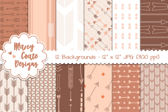 Pumpkin Spice Arrows Backgrounds Graphic Illustrations By MarcyCoateDesigns