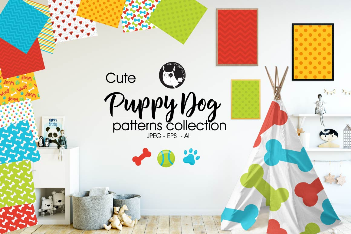 Download Free Puppy Dog Patterns Graphic By Prettygrafik Creative Fabrica for Cricut Explore, Silhouette and other cutting machines.