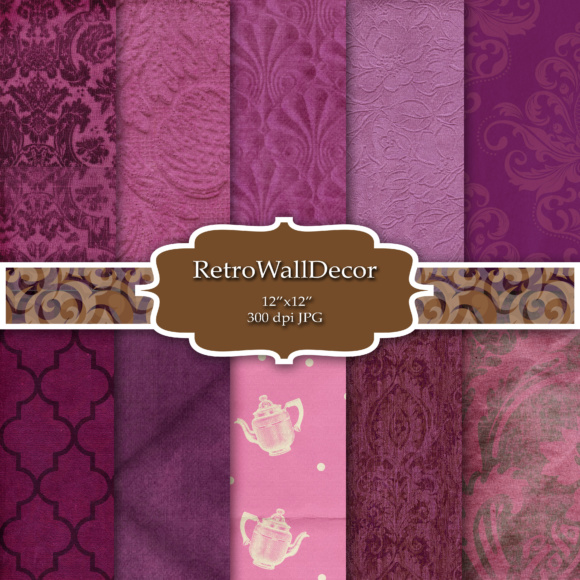 Print on Demand: Purple Digital Paper Pack Graphic Backgrounds By retrowalldecor