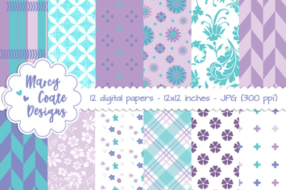 Purple & Turquoise Backgrounds Graphic Patterns By MarcyCoateDesigns