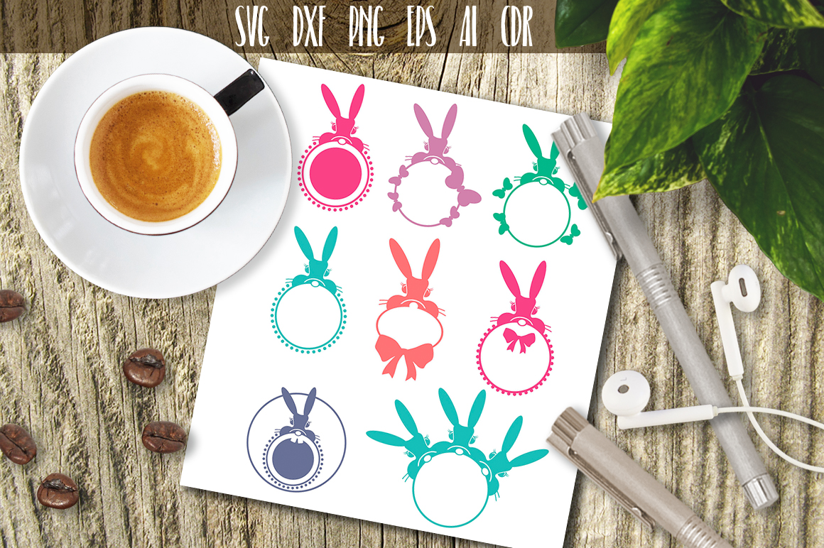 Download Free Rabbits Monograms Graphic By Vector City Skyline Creative Fabrica for Cricut Explore, Silhouette and other cutting machines.