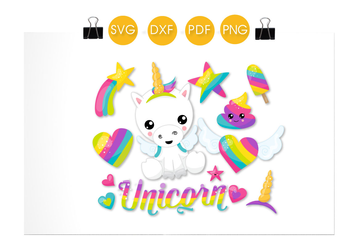 Rainbow Unicorn Graphic Crafts By PrettyCuttables - Image 2