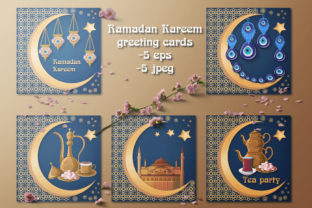 Download Free Ramadan Kareem Greeting Cards Graphic By Inkoly Art Creative for Cricut Explore, Silhouette and other cutting machines.