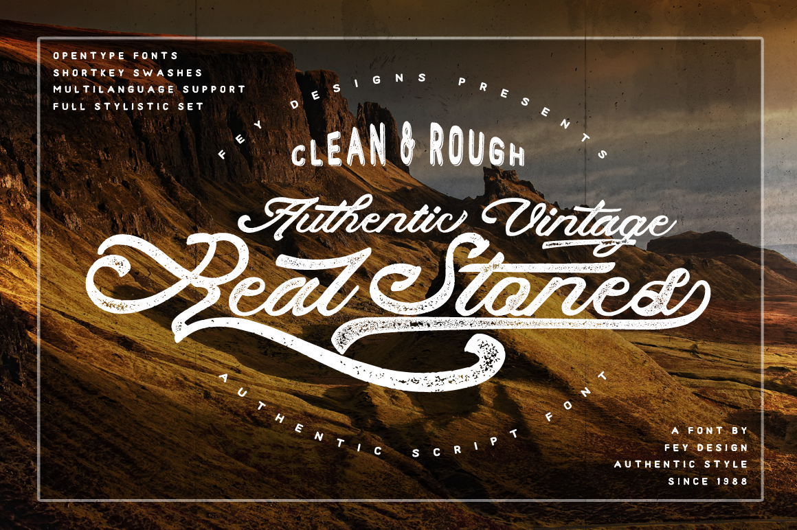 Print on Demand: Real Stones Script & Handwritten Font By feydesign