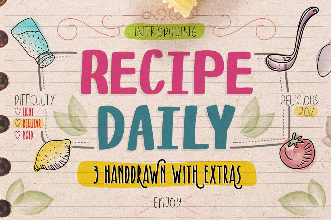 Download Free Recipe Daily Font By Storictype Creative Fabrica for Cricut Explore, Silhouette and other cutting machines.