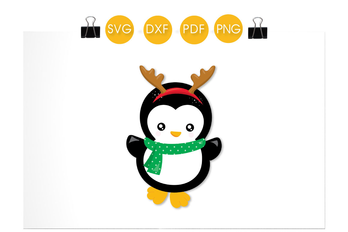 Download Free Reindeer Penguin Graphic By Prettycuttables Creative Fabrica for Cricut Explore, Silhouette and other cutting machines.