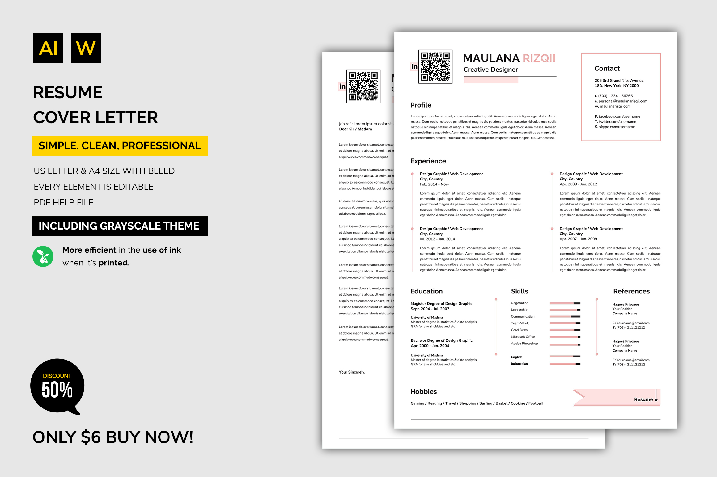 Resume Cover Letter Graphic By Machruzah Creative Fabrica