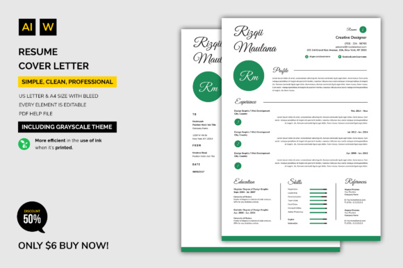 Print on Demand: Resume / Cover Letter Graphic Print Templates By machruzah