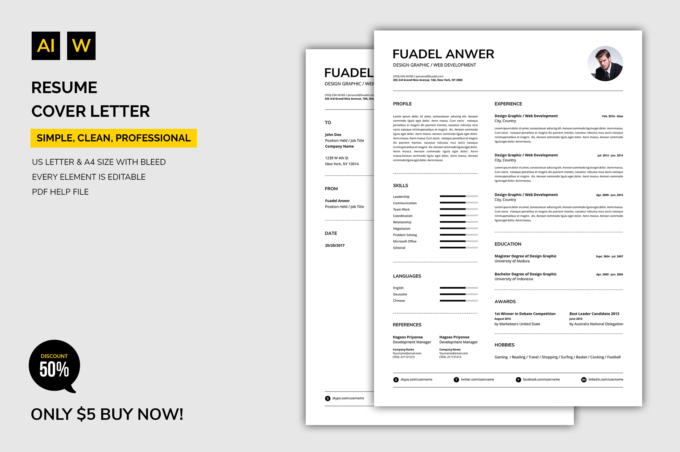 Print on Demand: Resume Graphic Print Templates By machruzah