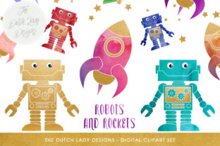 Download Free Robot Rocket Clipart Set Cute Space Images Graphic By for Cricut Explore, Silhouette and other cutting machines.