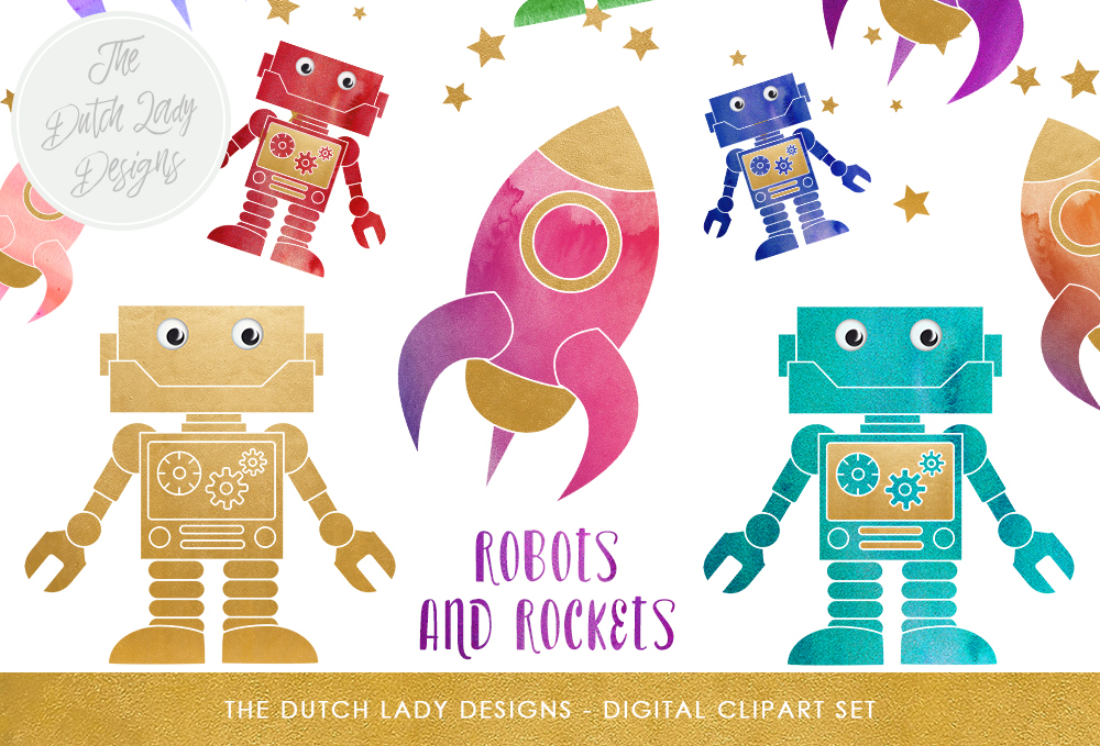 Print on Demand: Robot & Rocket Clipart Set - Cute Space Images Graphic Illustrations By daphnepopuliers