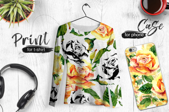 Print on Demand: Roses Flowers PNG Watercolor Set Graphic Illustrations By MyStocks - Image 5