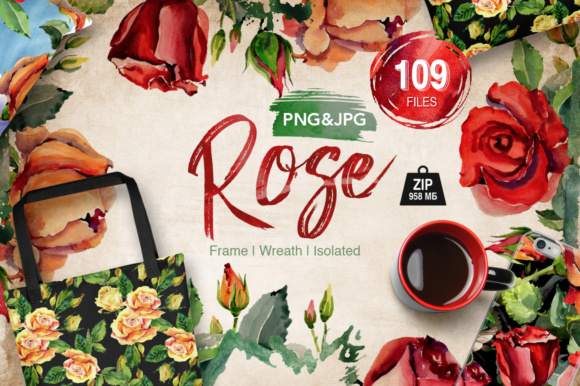 Print on Demand: Roses Flowers PNG Watercolor Set Gráfico Ilustraciones Por MyStocks