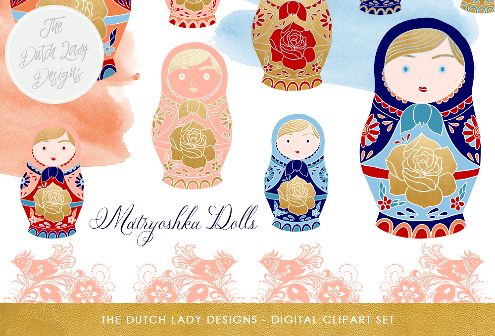 Russian Matryoshka Doll Clipart Set Dolls Borders Watercolor Smears Graphic By Daphnepopuliers Creative Fabrica