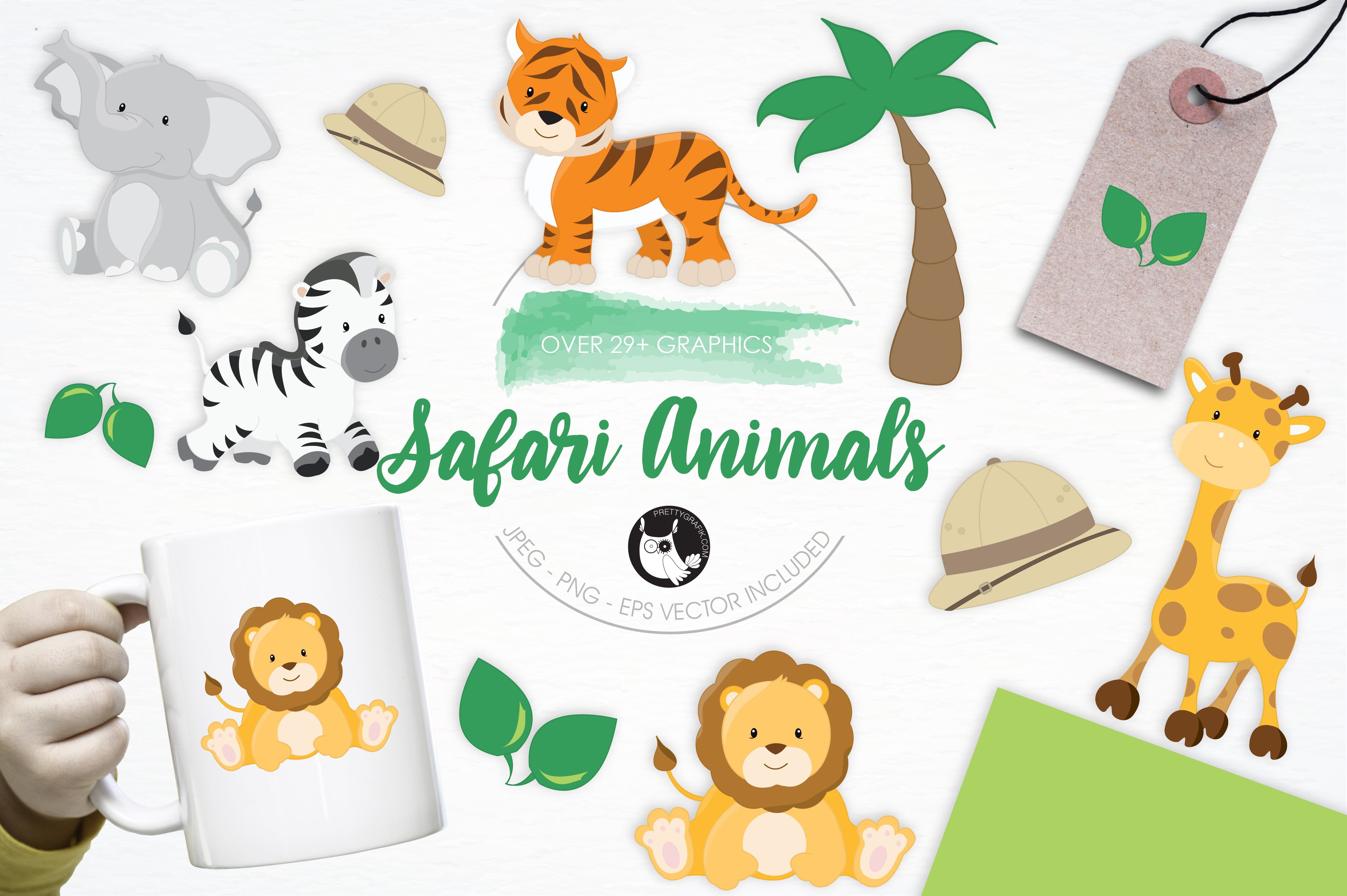 Print on Demand: 29 Safari Animals Grafik Illustrationen von Prettygrafik