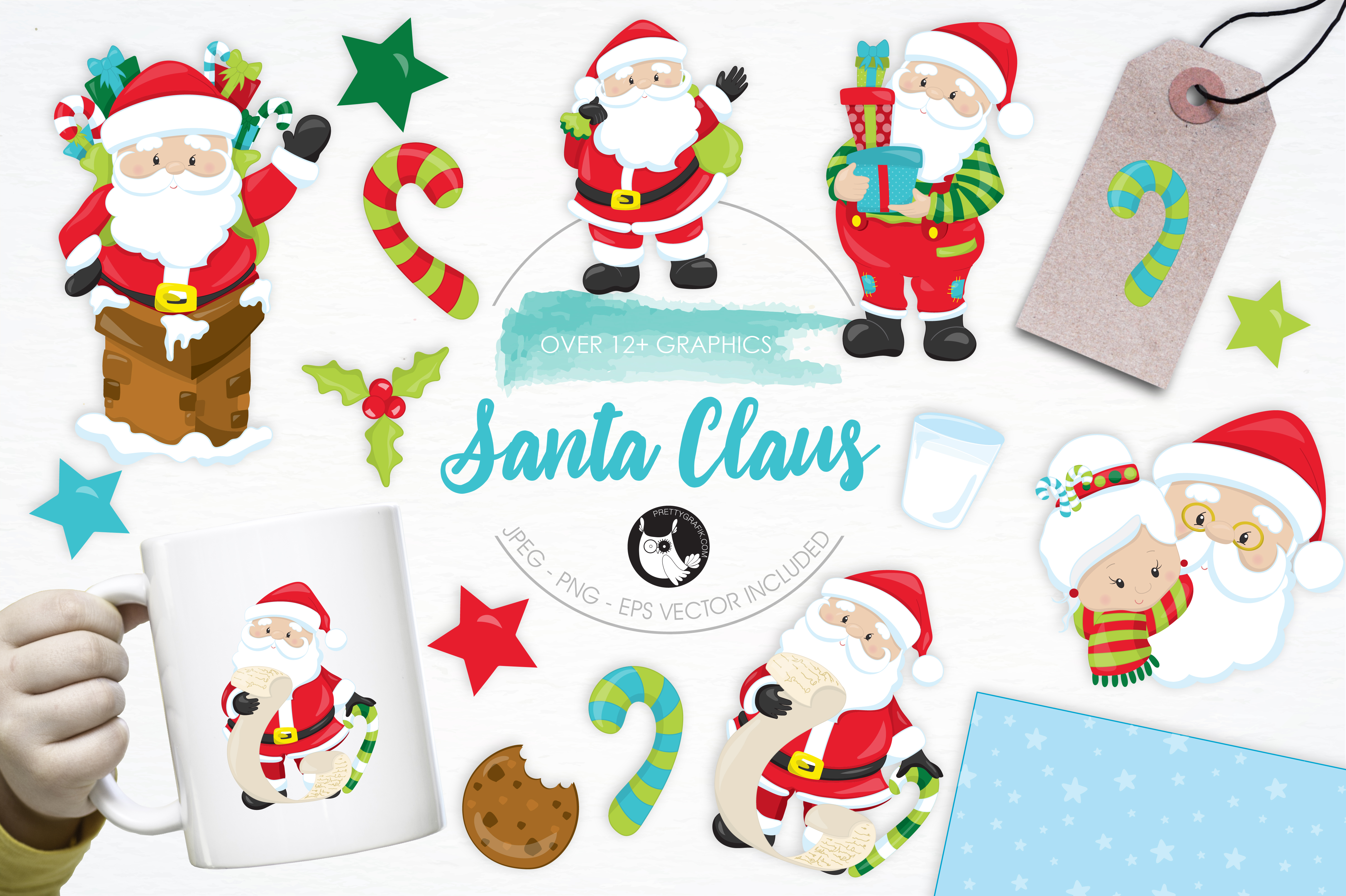 Print on Demand: +12 Santa Claus Graphic Illustrations By Prettygrafik